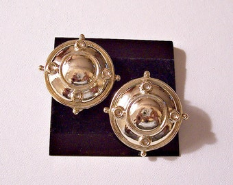 Domed Disc Clip On Earrings Gold Tone Vintage Round Trim Rings