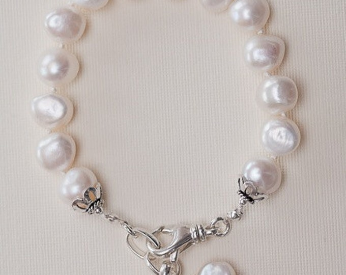 White Pearl Bracelet--Hand knotted Irregular Pearls with charms