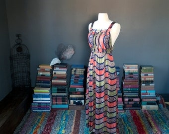 Vintage slinky abstract BOHEMIAN festival MAXI DRESS