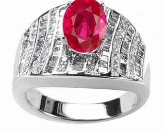 ruby  diamond ring  14k white gold