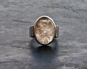 Golden Rutilated Quartz Oval Ring, Sterling Silver Gemstone Statement Ring, Wide Band Ring, Cocktail Ring, American Size 7.5, Gift for Her