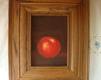 VINTAGE OIL PAINTING In Wood Frame Still Life Painting Red Apple Heavy Molded Walnut Wood Frame Dated 1983 Original Oil Painting Tramp Art