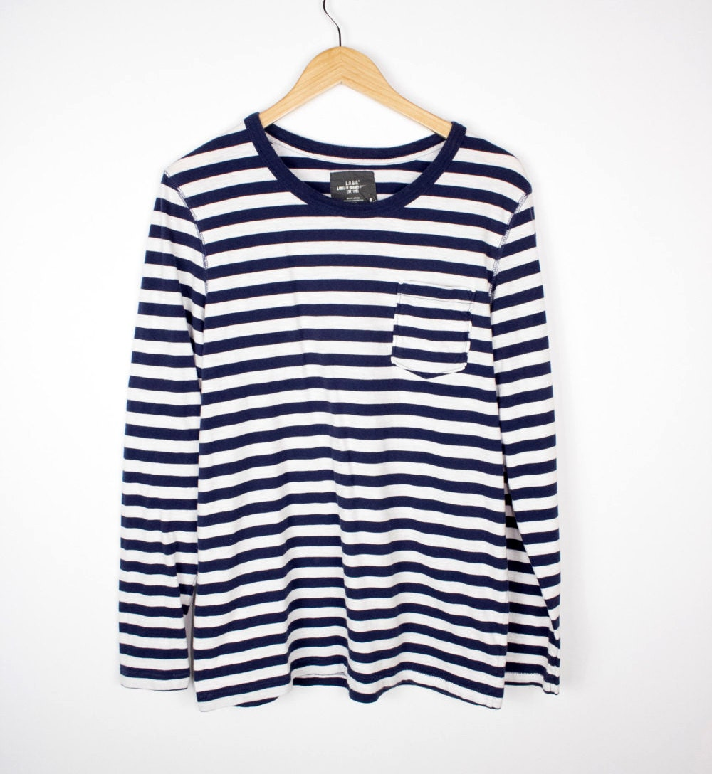 Vintage blue white striped long sleeve shirt m medium navy for Navy blue striped long sleeve shirt
