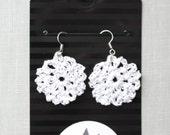 Metallic White Crochet Earrings , Circle Shape Cotton Earrings, Bohemian Jewelry, Boho Earrings, hand-crocheted gift for women
