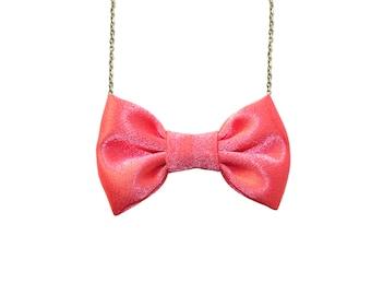 Pink Coral Satin Bow Tie Necklace, Bowtie Women Pendant
