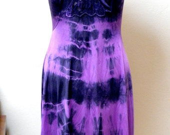 Slip Dress - Upcycled Vintage Shibori Dyed Slip in Purple & Black One of a Kind Art Clothing Evening Goth Fantasy Sexy Holiday Gift for Her
