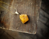 Opaque Yellow Baltic Amber - Rustic Raw Amber Pendant Necklace on Gold snake Chain