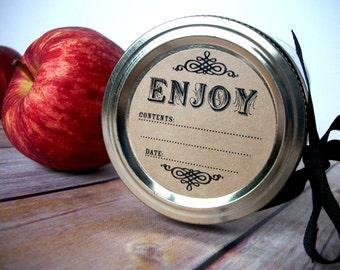 Enjoy KRAFT paper canning jar labels, round mason jar stickers for fruit and vegetable preservation, vintage jam and jelly jar labels