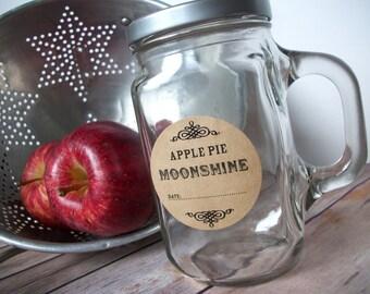Custom KRAFT paper canning jar labels, personalized round mason jar stickers for fruit & vegetable preservation, moonshine, jam jar label