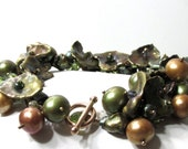 Natural Freshwater Cultured Pearl Bracelet with Faceted Hessonite Garnets and Peridot
