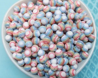 100x 6mm Tiny Resin Multi color stripe Globe HALF DRILLED beads ..