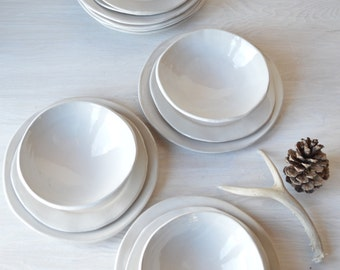 White Stoneware Dinnerware Set, Handmade Stoneware Dinnerware, 4 Piece Setting, MADE TO ORDER