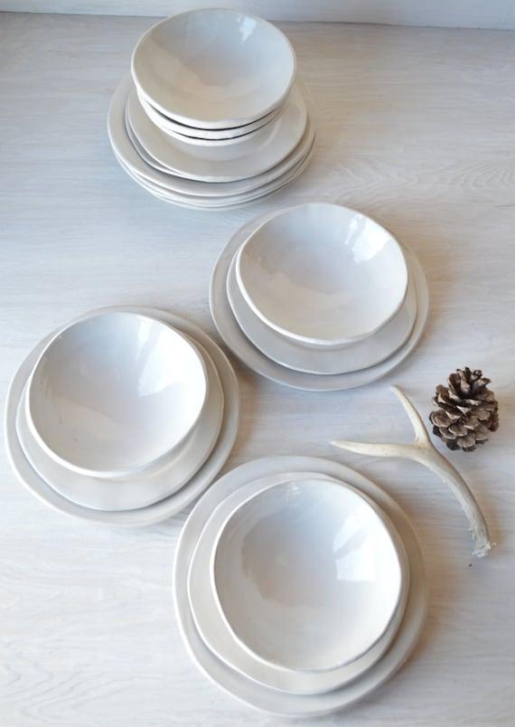 White Stoneware Dinnerware Set Handmade Stoneware Dinnerware