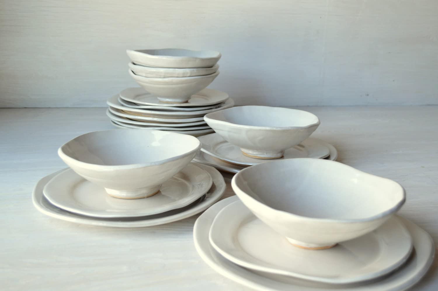 handmade stoneware dinnerware sets white ceramic dinnerware set 12 setting by jillzeidler 3970