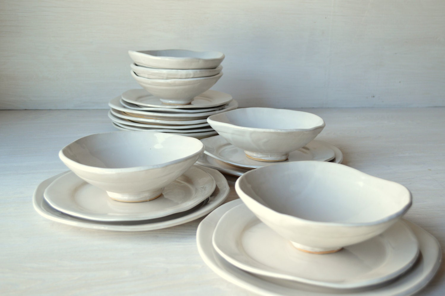 White Ceramic Dinnerware Set 12 Piece Setting By Jillzeidler