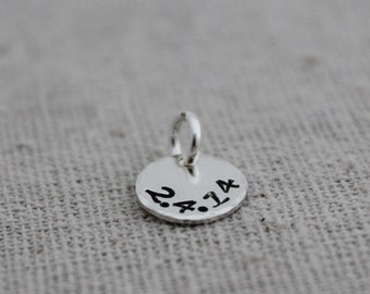 tiny date stamped sterling silver disc | personalized stamped disc |  add on | mothers necklace | push present | birthdate pendant