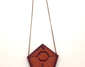 Hand Tooled Leather Necklace