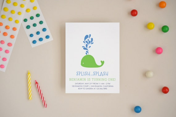 Whale Invitations - Choose Your Colors