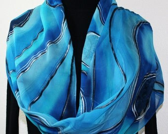 Blue Silk Scarf. Turquoise Hand Painted Scarf. Handmade Chiffon Silk Shawl BLUE PLANETS. Large 14x72 Birthday, Bridesmaid Gift. Gift-Wrapped