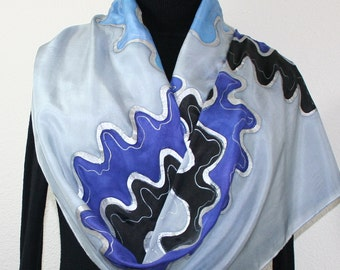 Silk Scarf Hand Painted Silk Shawl Silver Grey Periwinkle Steel Blue Scarf PERIWINKLE CLOUDS Large 14x72 Birthday Gift Scarf Gift-Wrapped