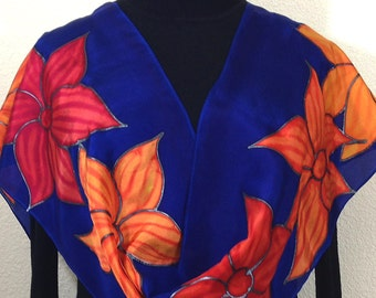 Royal Blue Silk Scarf. Floral Hand Painted Scarf. Handmade Silk Shawl ORANGE BLOSSOMS. Birthday Gift. Gift-Wrapped. Offered in Two SIZES