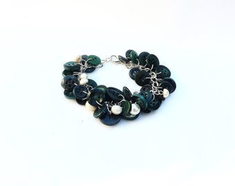 Bracelet Button Charm Bracelet in Dark Forest Green and White Pearl