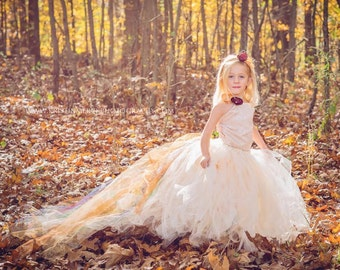 Fall Flower Girl Dress-Autumn Dress--Champagne Dress with Color Accented Train-Perfect for Weddings, Pageants and Portraits