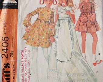 Vintage 1970's Girl's Sewing Pattern - High Waisted Dress in Two Lengths - McCall's 2406 - Size 8, Breast 27