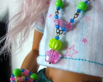 MSD BJD OOAK Stars and chains necklace and a matching bracelets