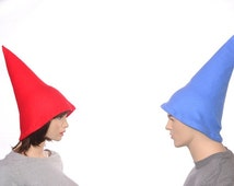 Garden Gnome Hat Couples Costume Hat Red Gnome Hat Blue Gnome Hat Halloween Elf Hats His and Her Hats