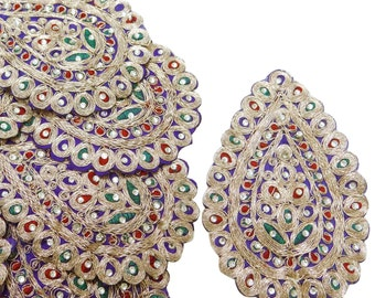 Royal Beaded Appliques Paisley Embroidered Sewing Dress Patches Indian Sewing Dress Decorative Stone Beaded Appliques By 1 Pair/2 Pcs RAP292