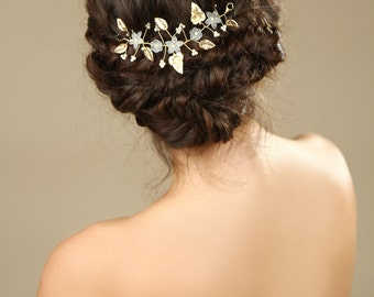 Gold Leaf bridal hair vine ,wedding  hair accessories, flower hair vine,