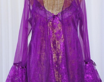 Designer Lace Babydoll Nightgown Set Andrea Kristoff Old Stock New Without Tags Large