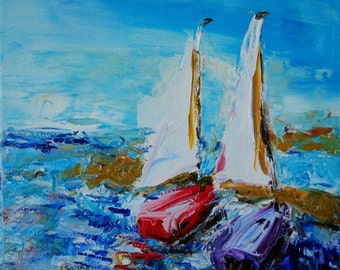 Docked-FINE ART PRINT Contemporary Abstract Sail Boat Oil Painting