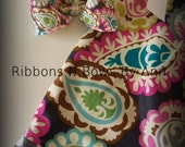 Ready to Ship Paisley Pillowcase Dress and Matching Boutique Hair bow Size 18/24 months