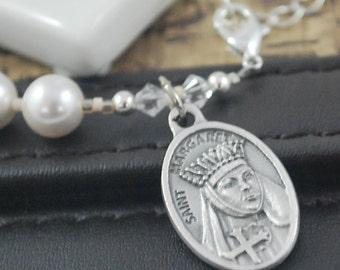 St Margaret of Scotland Pearl Rosary bracelet. Swarovski crystal cross Prayer bracelet. Single decade Saint Margaret of Scotland Catholic