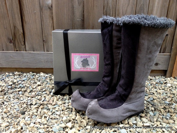 Kristoff Grey/Black Faux Suede Custom Frozen Spat and Boots in Faux Suede Adult Costume