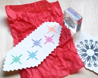 Retro Atomic Star Rubber Stamp - Mounted Accent