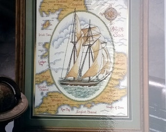 Sailing Ship Counted Cross Stitch Kit Heritage Collection Mapping the Seas