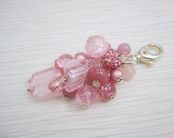 Pink Purse Charm, Pink Bag Charm, Beaded Purse Charm, Light Pink, Purse Charm, Keychain, For Her, Handbag Charm, Bag Charm, Purse Charms