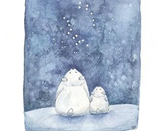 Ursa the bears - Whimsical, nightsky, childrens illustration. Big dipper, little dipper constellation art.