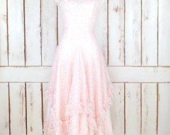 Pink lace wedding gown/pink sheer lace dress