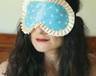 Valentine satin eye mask sleep mask pinup burlesque blue with hearts - Love Me Sugar HH