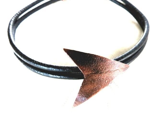 Arrowhead Bracelet, Arrow Bracelet, For Him, For Her, Unisex Bracelet, Black Leather, Rustic Jewelry, Hipster, Gift Idea