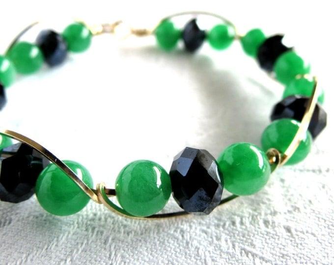 Bangle, Bracelet,Jade, Black Crystals, 14 k Gold Filled, Handmade Jewelry, Gift Idea