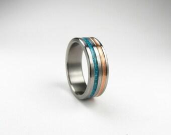 Duality Teak Titanium And Teak Inlay Ring Mens Wood