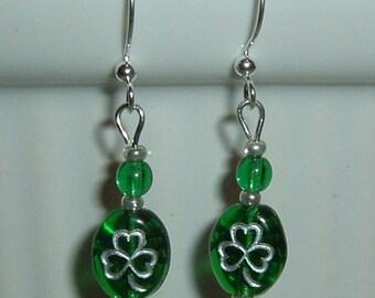 Lucky Shamrock Earrings - Emerald Green Glass Shamrock Beads - St Patrick's Day Party