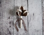 Rustic Cotton Wedding Boutonniere