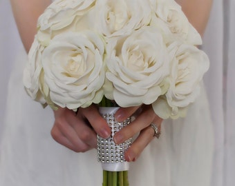 White Rose Wedding Bouquet with Rhinestone Handle