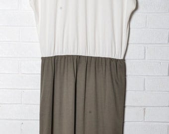 Womens Vintage Dress Simple Day Dress Olive Green Cream